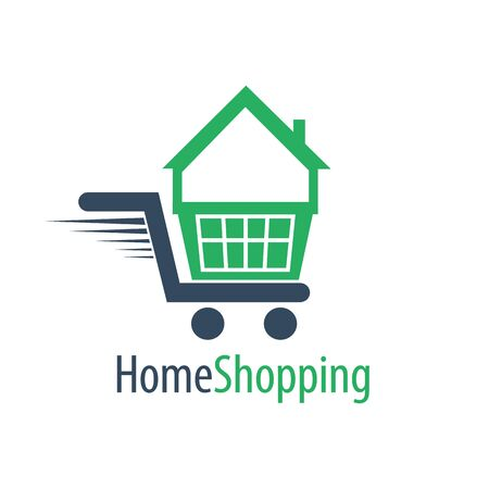 Home shopping cart logo concept design. Symbol graphic template element vector Banco de Imagens - 143647676