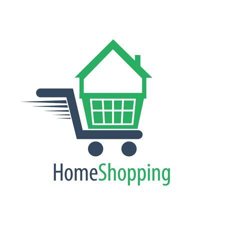 Home shopping cart logo concept design. Symbol graphic template element vector Illustration