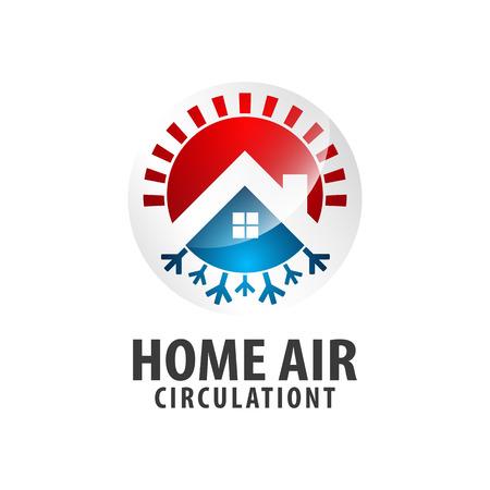Circle arrow Home Air circulationt logo concept design. Symbol graphic template element vector