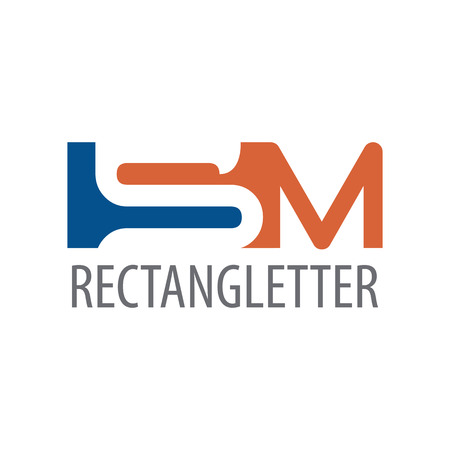 Rectangle initial letter SM logo concept design. Symbol graphic template element vector Ilustração