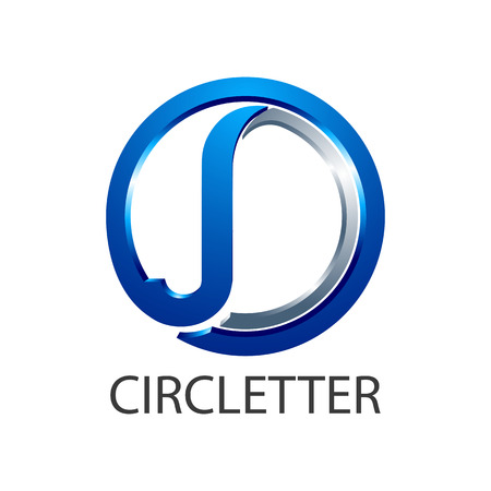 Circle initial letter JD or J logo concept design. Symbol graphic template element vector