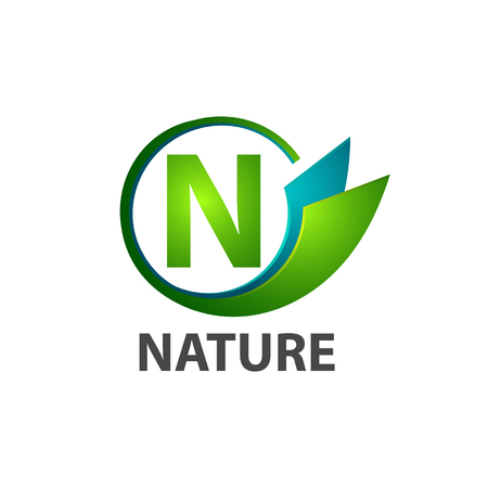 Circle initial letter N nature logo concept design. Symbol graphic template element vector