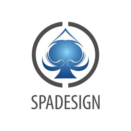 Circle spade sign logo concept design. Symbol graphic template element vector