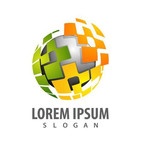 Digital sphere logo concept design. Symbol graphic template element vector