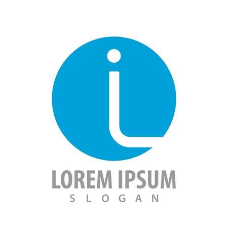 Circle blue initial letter IL logo concept design. Symbol graphic template element