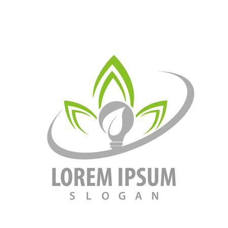 Bulb leaf lotus logo concept design. Symbol graphic template element