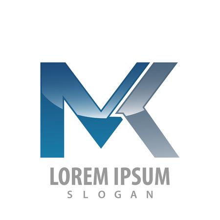 Technology MK letter logo concept design. Symbol graphic template element Illustration