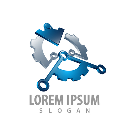 logo concept design. Gear arrow industrial. 3D style. Symbol graphic template element