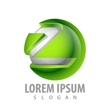 logo concept design. Green sphere letter Z Symbol graphic template element