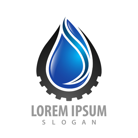 Water drop with gear logo concept design. Symbol graphic template element