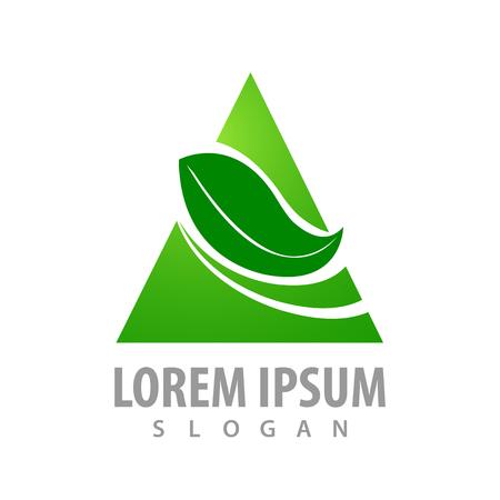 Triangle leaf logo concept design. Symbol graphic template element