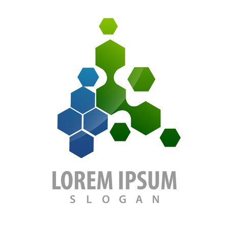 Hexagon molecular particles concept design. Symbol graphic template element