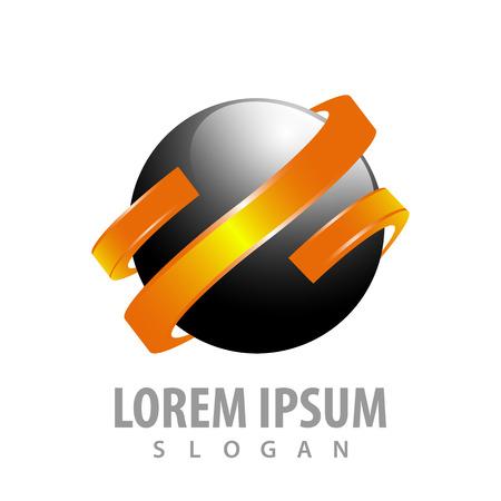 Black sphere with orange ribbon concept design. Symbol graphic template element Banque d'images - 119206038