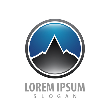 Circle simple mountain concept design. Symbol graphic template element vector Banque d'images - 119206059