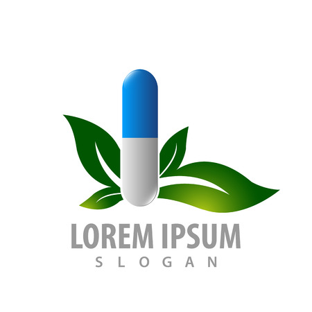 Leaf with capsule medical concept design. Symbol graphic template element Banque d'images - 119357030