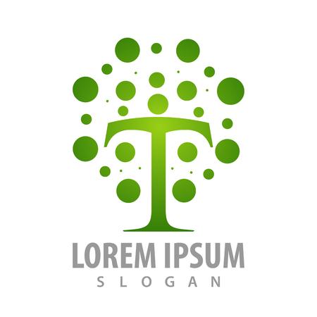 Green dot in T letter concept design. Symbol graphic template element Banque d'images - 119357065