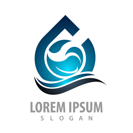 Shiny water drop wave concept design. Symbol graphic template element