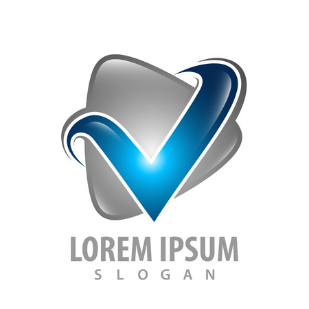 Triangle letter V concept design. Symbol graphic template element Çizim
