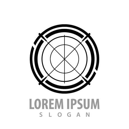 Monochrome target sign concept design. Symbol graphic template element Çizim