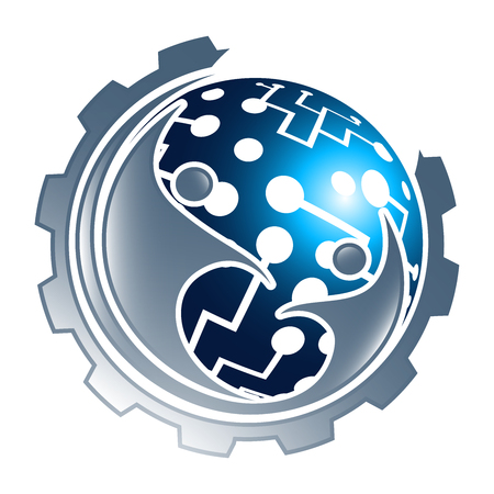 Digital technology sphere gear with people concept design. Symbol graphic template element Çizim