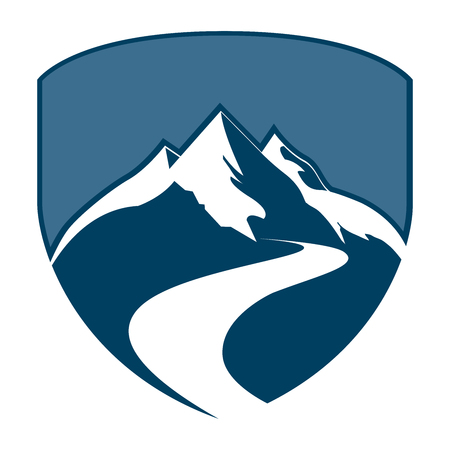 Shield mountain badge concept design. Symbol graphic template element Çizim
