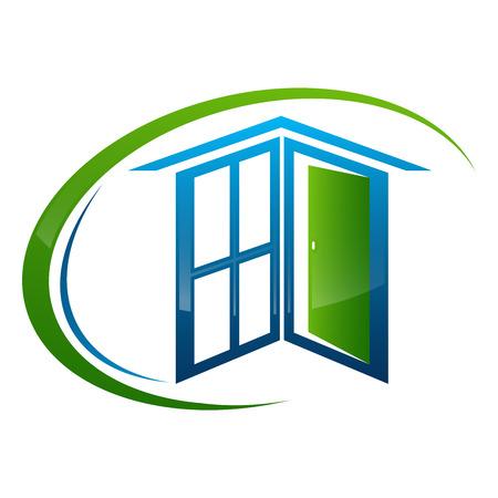 Home window door frame concept design. Symbol graphic template element