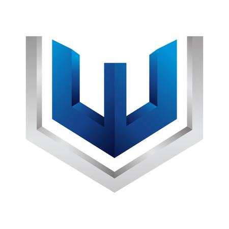 Initial letter VW in 3d Hexagon concept design. Symbol graphic template element Çizim