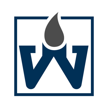 Square letter W with water drop concept design. Symbol graphic template element