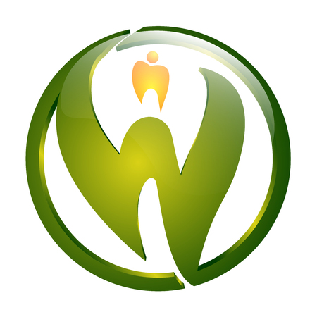 Circle green letter W with dental sign concept design. Symbol graphic template element