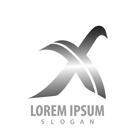 Initial letter X metallic silver concept design. Symbol graphic template element Çizim