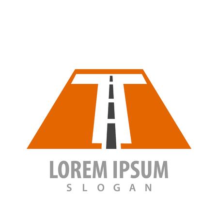 Initial letter T road font concept design. Symbol graphic template element