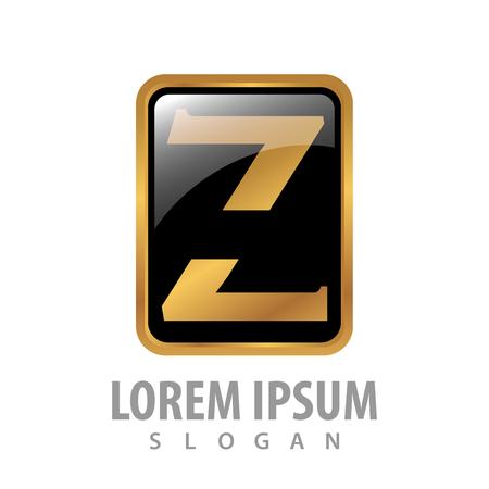 Luxury button square letter Z concept design. Symbol graphic template element