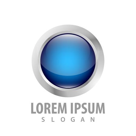 3d blue circle button concept design. Symbol graphic template element Çizim