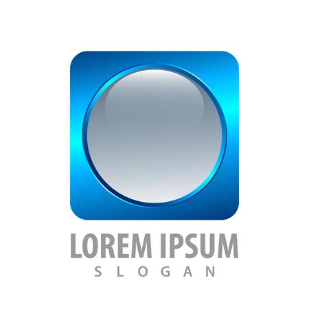 3d round blue square button concept design. Symbol graphic template element 일러스트
