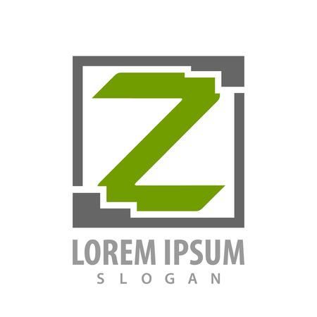 Square letter Z concept design. Symbol graphic template element