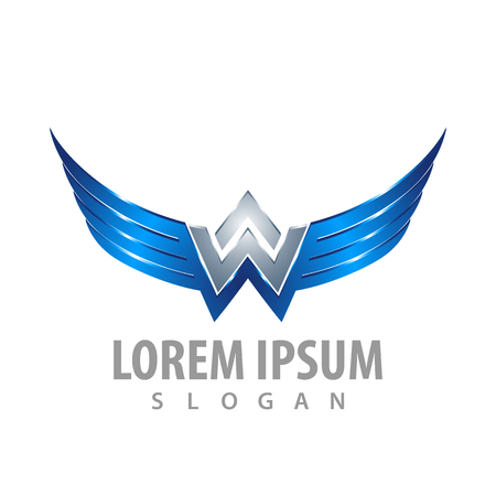 Shiny wing letter W concept design. Symbol graphic template element
