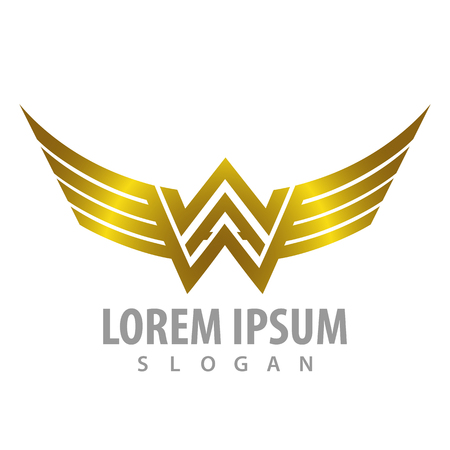 Luxury shiny wing letter WW concept design. Symbol graphic template element Banque d'images - 120855990