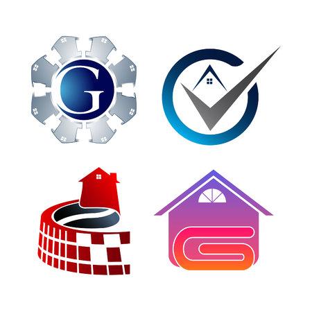 Creative Real Estate Logo Set Collection. Building and Construction Logo Vector Design