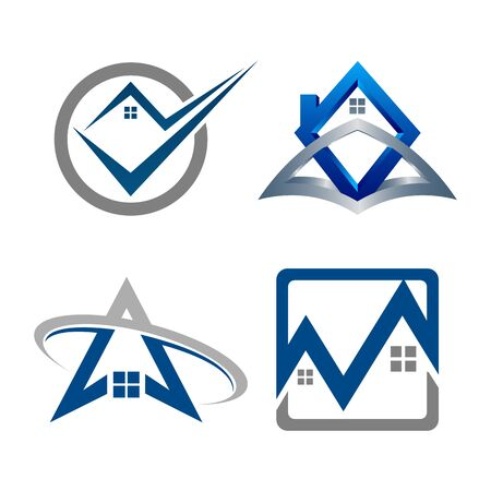 Real Estate Logo set. Building and Construction collection Logo Design Banco de Imagens - 126638716