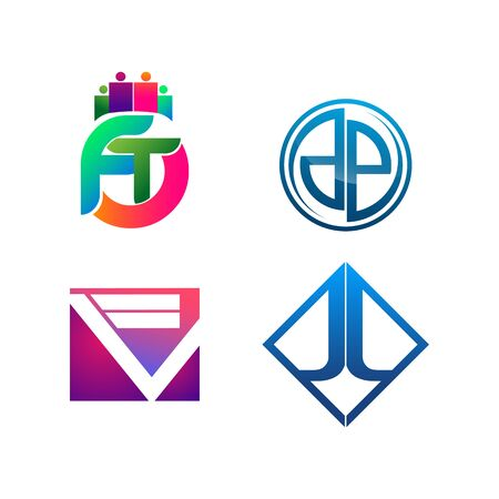 Set of symbol for Business logo design template. Collection of Abstracts modern icons for organization Banco de Imagens - 126638722