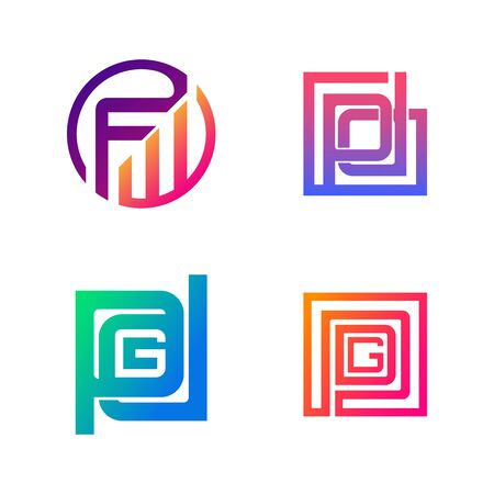 Set of initial FW, PD, PDG symbol for Business logo design template. Collection of Abstracts modern icons for organization