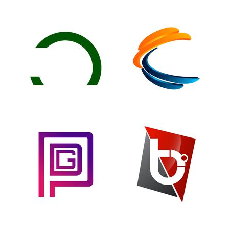 Set of initial letter C, PGD, B, half circle symbol for Business logo design template. Collection of Abstracts modern icons for organization Banque d'images - 127496226