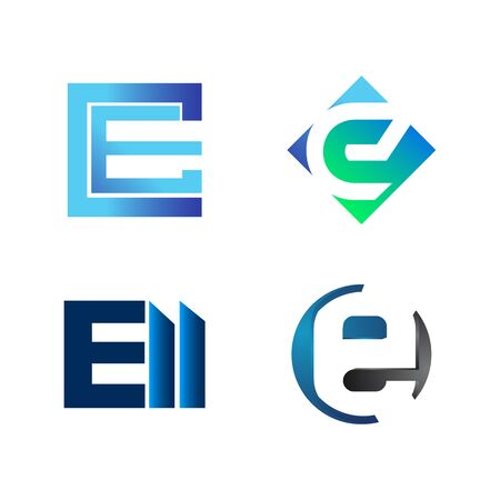 Set of initial letter CE, E, ELL, symbol for Business logo design template. Collection of Abstracts modern icons for organization