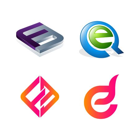 Set of initial letter FE, EQ, F, E symbol for Business logo design template. Collection of Abstracts modern icons for organization