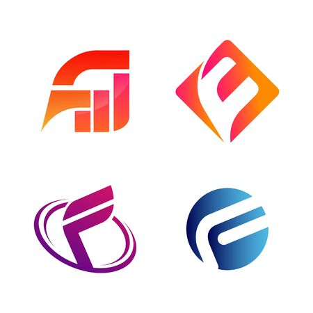 Set of initial letter FW and F symbol for Business logo design template. Collection of Abstracts modern icons for organization Ilustração