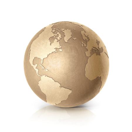 Golden world on white background Standard-Bild