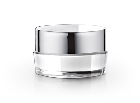 white cosmetic jar on white background Banque d'images