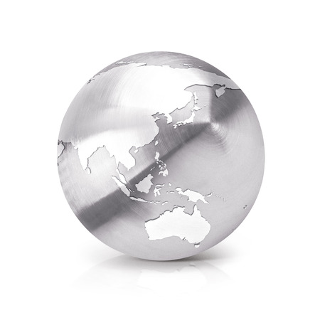 stainless: Stainless Asia & Australia world map 3D illustration on white background