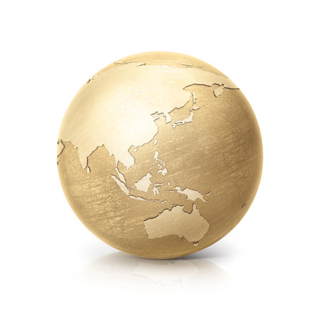 gold circle: brass globe 3D illustration asia and australia map on white background