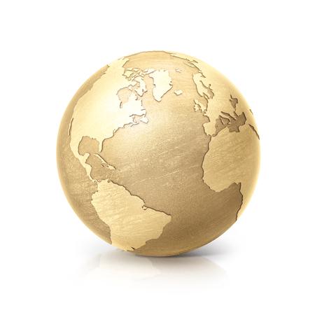 messing globe 3D illustratie Noord-en Zuid-Amerika kaart op een witte achtergrond